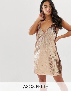 Image result for ASOS DESIGN Petite sequin cami mini dress