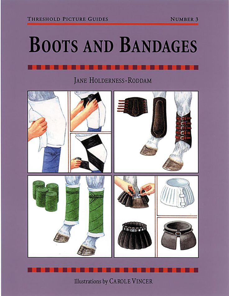 Threshold Picture Guide No. 3 Boots and Bandages by Jane Holderness-Roddam | Quiller Publishing. A guide to the correct methods of fitting boots and bandages, including: over-reach boots, fetlock boots, travelling, knee caps and hock boots, different types of bandage and more. #horse #pony #bandage #boots #types #injury #travel