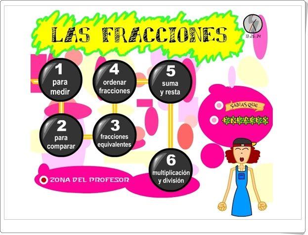 """""""Las fracciones"""" es una completa aplicación, publicada por el Instituto de Tecnologías de la Educación de España, en la que se aborda con múltiples actividades interactivas el aprendizaje de las fracciones y las operaciones con fracciones."""
