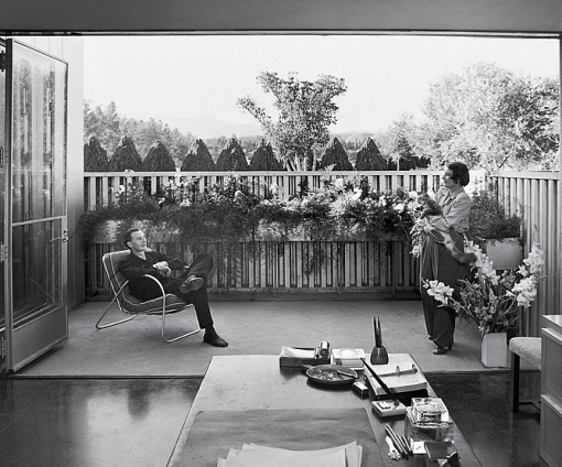"""Richard Neutra's Josef von Sternberg House (1935). """"Novelist Ayn Rand [ed note: (!)] and her husband, Frank O'Connor, an actor, relax on a patio outside the studio, which she used as her office. Rand wrote some of her 1957 novel Atlas Shrugged in the room. They lived in the house until 1951, when they moved to New York City."""""""