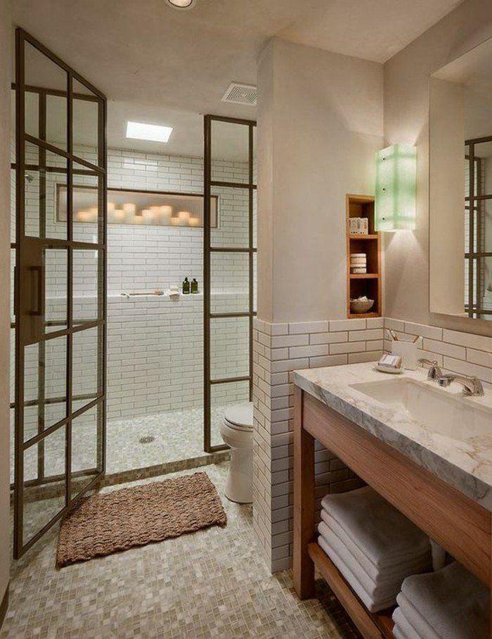 1000 id es sur le th me niche de douche sur pinterest - Salle de bain blanche et bois ...
