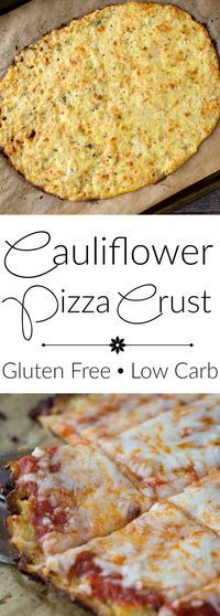 Cauliflower pizza crust-great low carb and gluten free option. Great way to get kids to eat their vegetables! My family loves this dinner recipe.