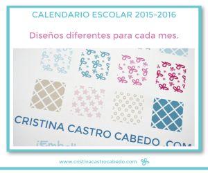 Calendario escolar 2015-2016 de 16 meses con diseños diferentes para cada mes.