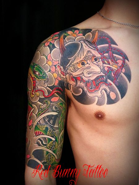 刺青 和彫り 般若 蛇
