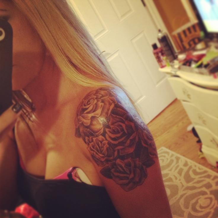 Rose quarter sleeve Shoulder tattoo, Tattoos, Ink