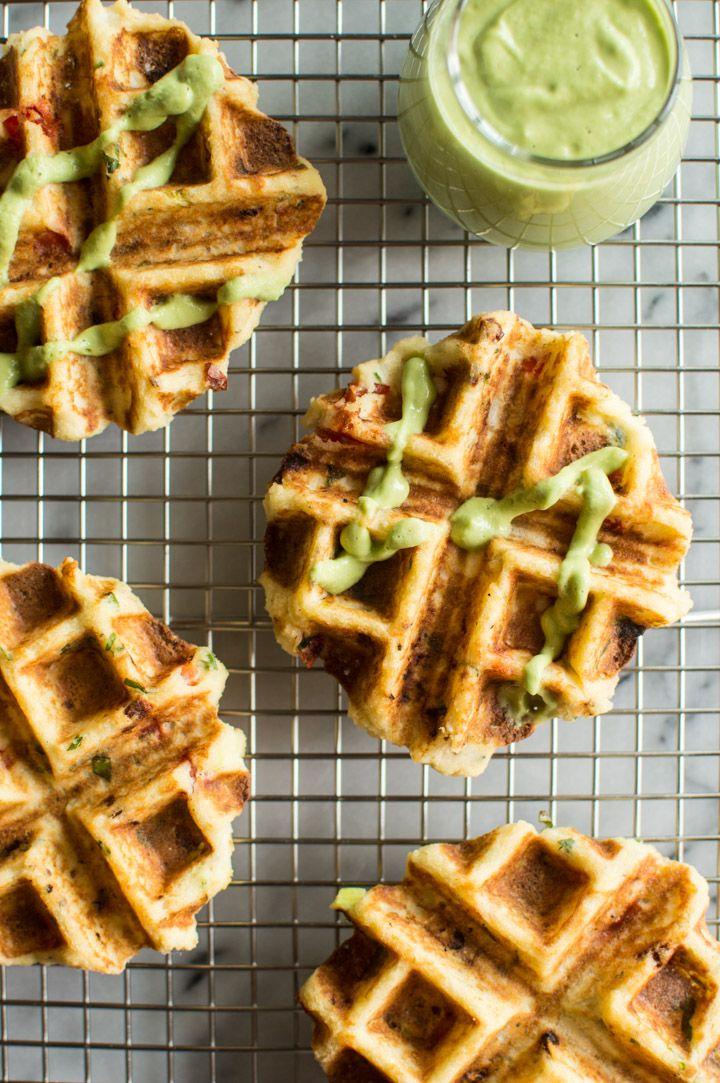 Mashed Potato Waffles and Creamy Avocado Basil Sauce | Healthy Nibbles & Bits