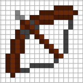 Minecraft Pixel Art Templates: Bow and Arrow