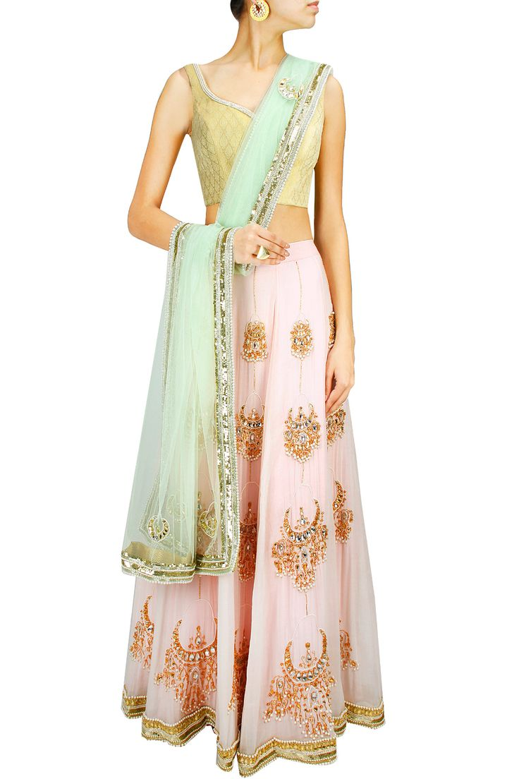 Pink and green chandbali embroidered lehenga set BY HARSHITAA CHATTERJEE DESHPANDE. Shop now at: www.perniaspopups... #perniaspopupshop #designer #stunning #fashion #style #beautiful #happyshopping #love #updates