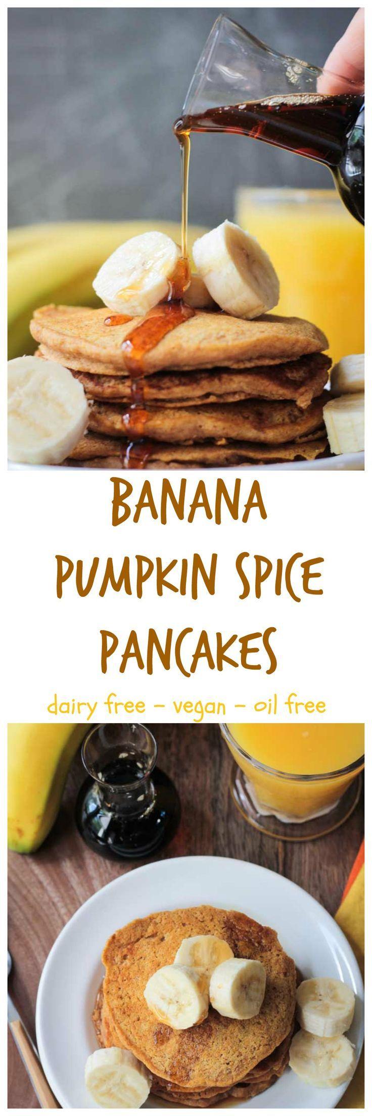 Banana Pumpkin Spice Pancakes - vegan   dairy free   oil free   egg free   whole wheat   autumn   fall   breakfast   brunch   pancake day   healthy   clean eating   cinnamon