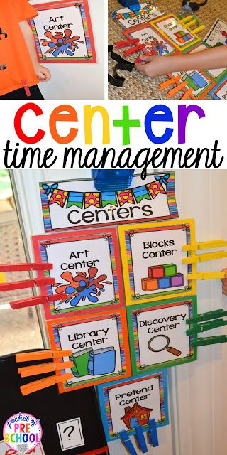 Center Time management for preschool, pre-k, and kindergarten plus a free printable to teach about the centers.