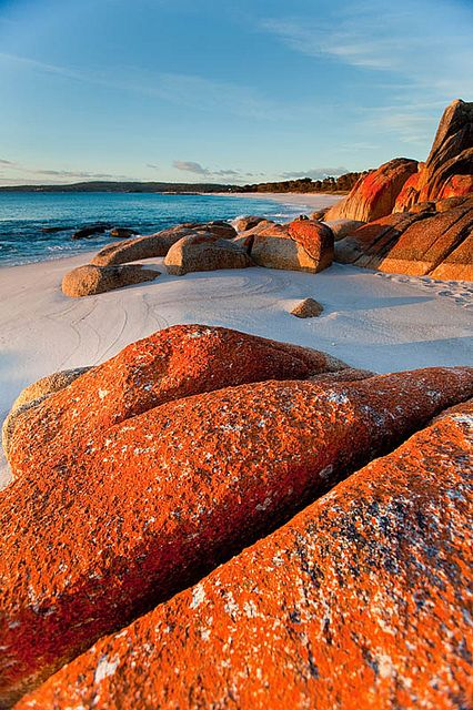 Bay of Fires, Tasmania, Australia - It is an area of idyllic white-sand beaches, placid lagoons and hidden coves with suitable accommodation choices and fishing and diving facilities. A major drawcard for visitors is the four-day Bay of Fires Walk organised by the Bay of Fires Lodge and conducted by experienced guides.