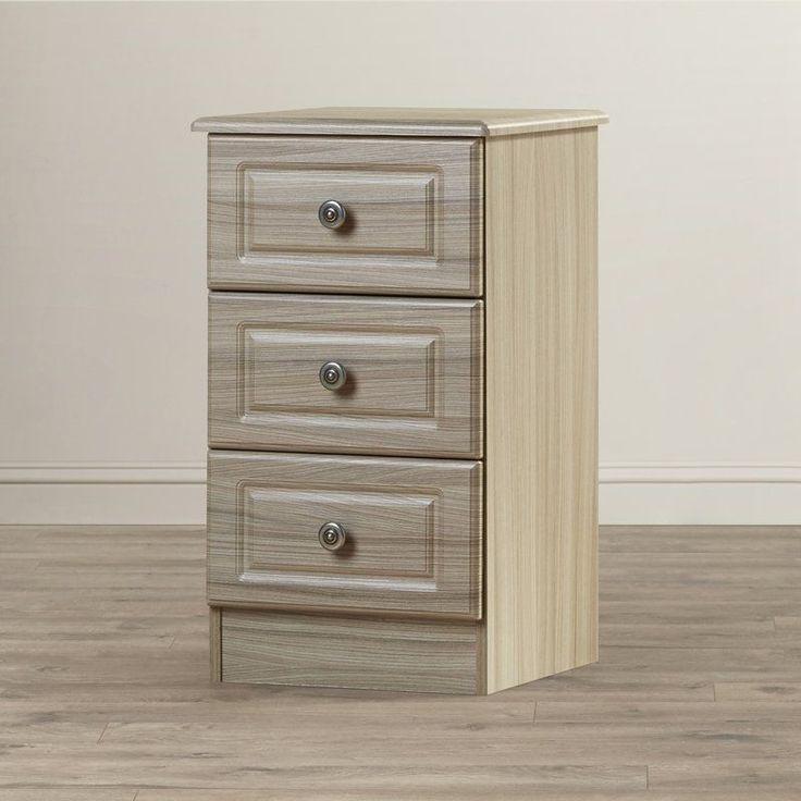 Wooden Bedside Table 3 Drawer Storage Grey Silver Solid Wood Bedroom Furniture