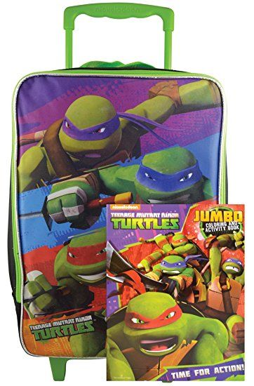 Ninja Turtles TMNT Rolling Pilot Case Case Luggage with Bonus Activity Book