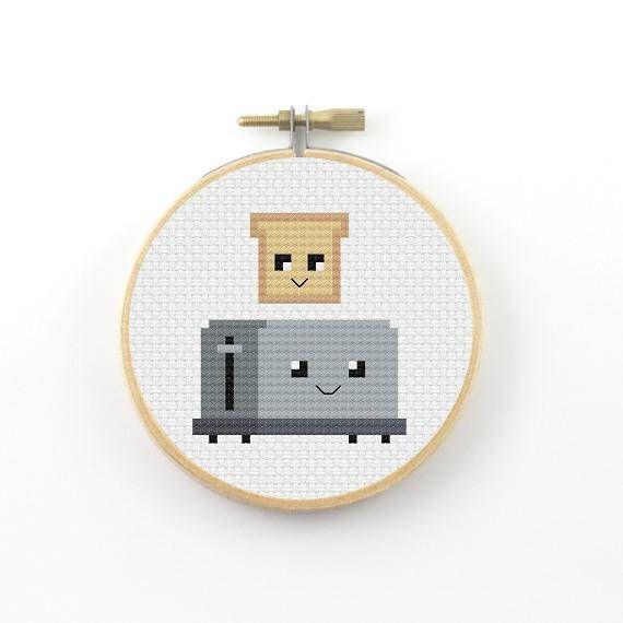 Cute toaster cross stitch pattern, pdf pattern, cute cross stitch, couple cross stitch, friendship cross stitch, modern cross stitch