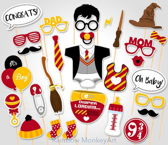 Props for a Harry Potter themed baby shower.