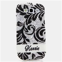 Custom Silver and Black Floral Design Swarovski Crystal Case #iphone #outterbox #Cellphonecases