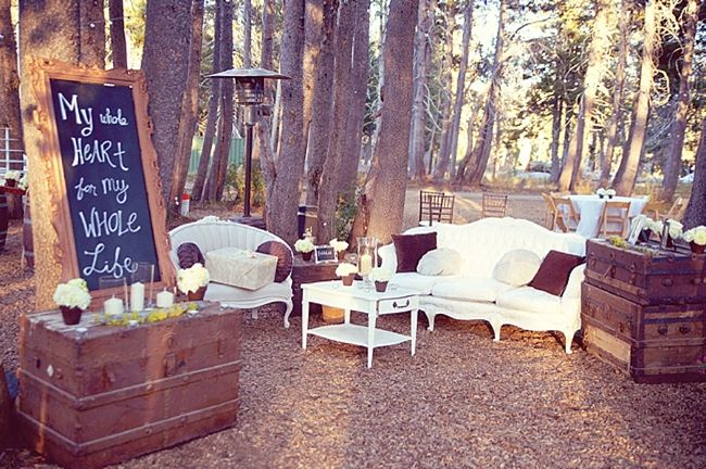 Love this outdoor lounge area!   Mountainside Bride