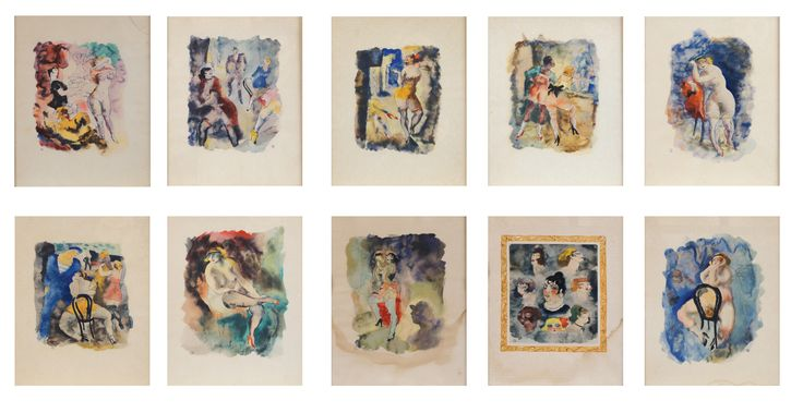 A set of 10 watercolors representing erotic scenes - early 20th century  Lot 681