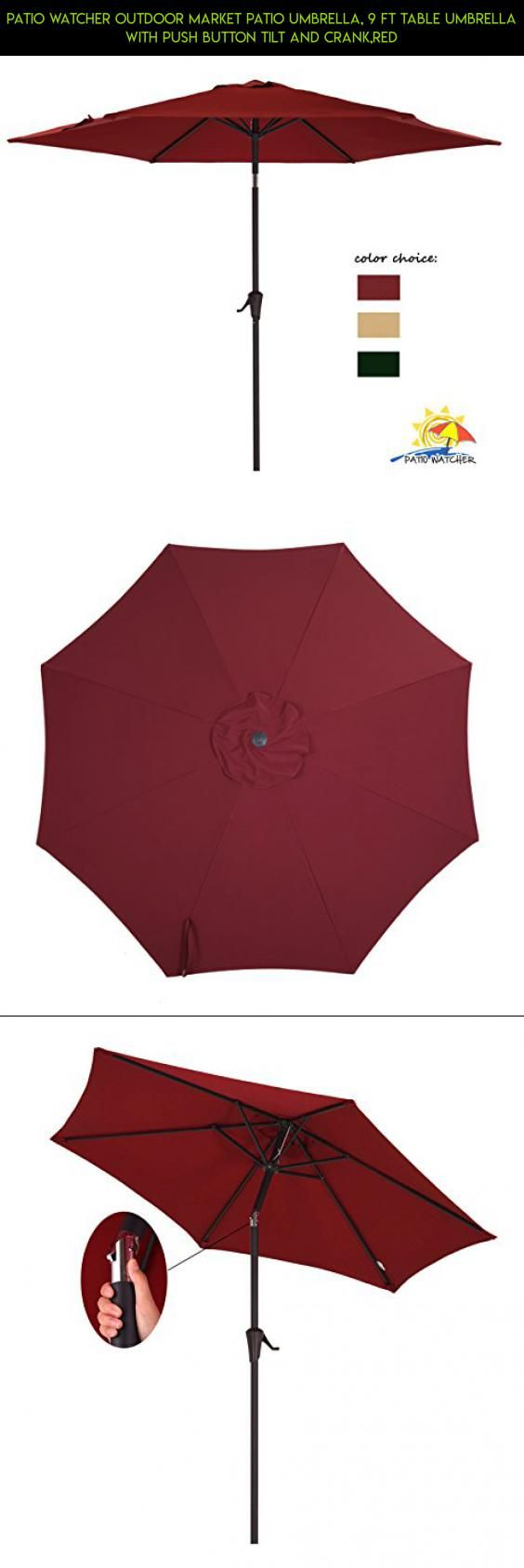 Patio Watcher Outdoor Market Patio Umbrella, 9 Ft Table Umbrella with Push Button Tilt and Crank,Red #camera #sale #tech #kit #gadgets #drone #fpv #plans #on #racing #products #parts #shopping #technology #pools