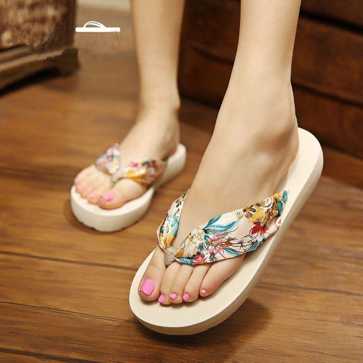 Women Summer Sandals Bohemia Satin Slope Flip Flops Beach Slippers Cute Cheap S #WomenSummerChina #FlipFlops #Beach