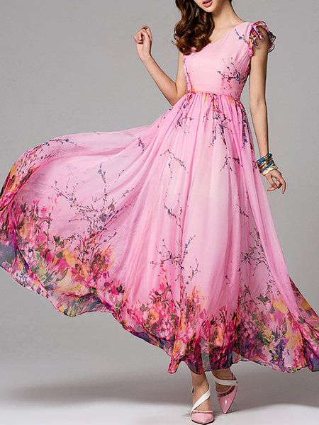 Floral-print Frill Sleeve V Neck A-line Casual Maxi Dress