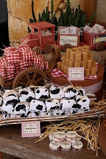 """Wrap sandwiches in """"cowhide"""" and """"picnic tablecloth"""" fabric and twine. (Dulce Design: Cowboy Party)"""