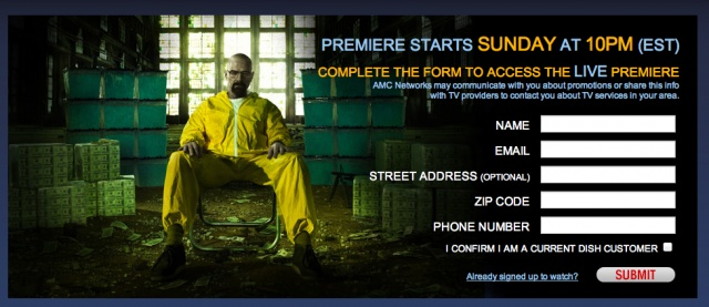 In a move that is unprecedented — at least as far as distribution disputes go — the network is going to LIVE STREAM the season five Breaking Bad premiere for free online.