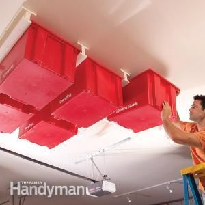 Create a Sliding Storage System On the Garage Ceiling  If your garage is running out of space, try building this overhead storage system. The construction is simple and fast, and the whole system is made with standard materials