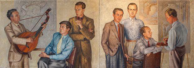 Хальмстад Группа изображала Стеллан Морнер 1936. слева: Эгон Остлунд (друг группы), Эрик Олсон, Аксель Олсон, Свен Джонсон, Стеллан Морнер, Вальдемар Лоренцон, Эсайас Торен.