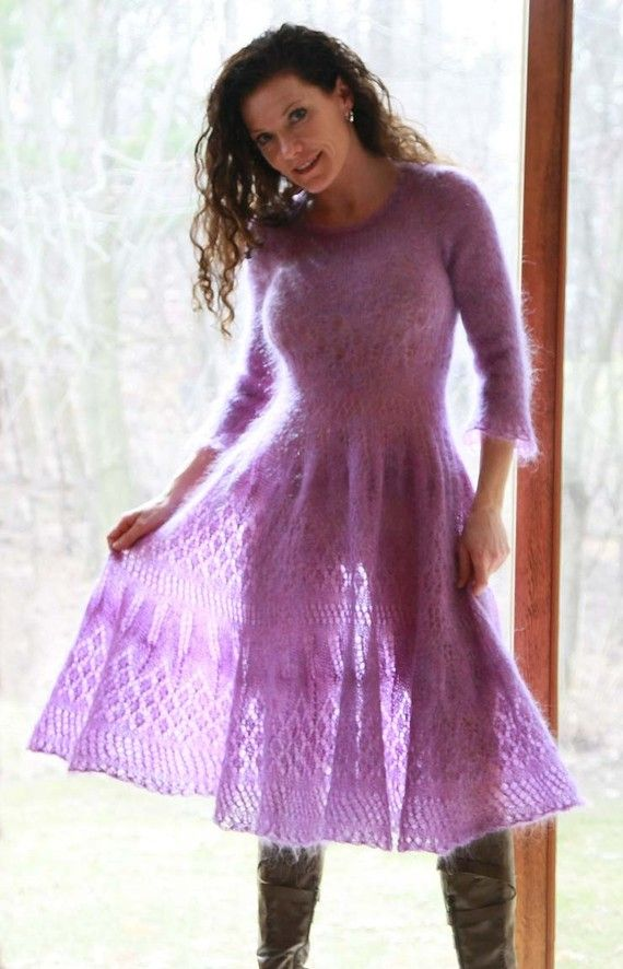Mohair handknitted lace dress. This lady makes these dresses by hand.She makes…