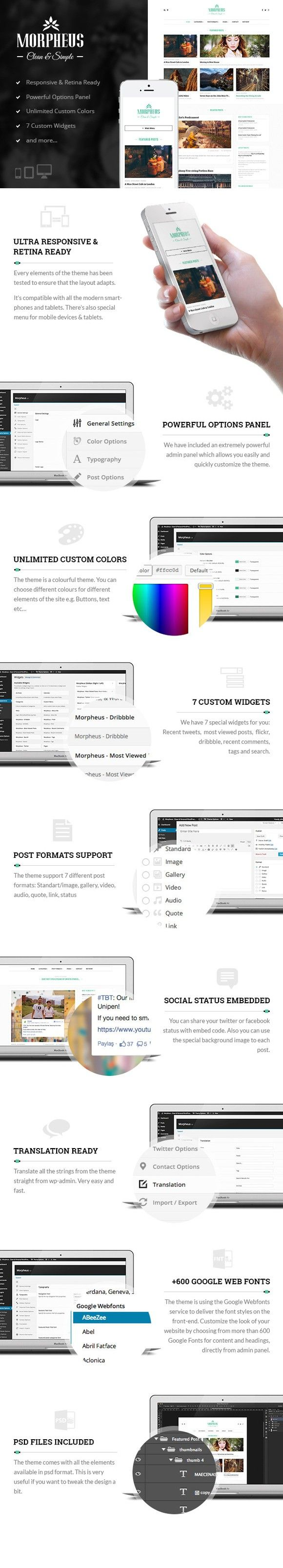 Morpheus - Personel Blog Wordpress T. Bootstrap Templates. $43.00