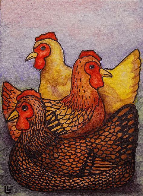 Three French Hens by Lindi Levison. From the 12 Days of Christmas, these are the Three French Hens! How do we know they are French? I'm not sure... Maybe they have an accent. :)