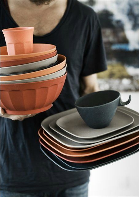 orange bamboo tableware from Nordal