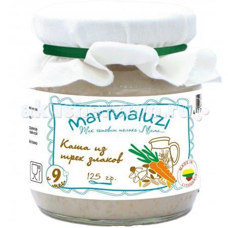 Marmaluzi Молочная каша из 3-х злаков для детского питания с 9 мес. 125 г  — 80р.   Молочная каша из 3-х злаков  Marmaluzi для детского питания с 9-ти месяцев, 125 гр , стерилизованная, крупноизмельченная  Состав: хлопья 19,8%: (в равных пропорциях - рисовые хлопья, перловые хлопья, овсяные хлопья), молоко 10%, морковь 5%, масло сливочное 0,5%, вода.  Вкусная кашка из трех злаков на молоке от Marmaluzi изготавливается только из натуральных ингредиентов: ячменной, рисовой и овсяной крупы…