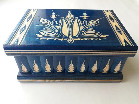 Nouveau gros énorme bleu en bois puzzle boîte à trésor secret aventure mystère boîte magique bijoux rangement coffre caché caisse en bois tiroir boîte cadeau jouet