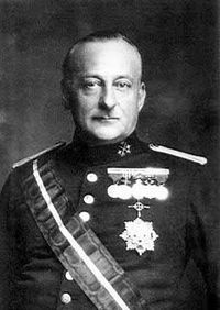 "Don Miguel Primo de Rivera y Orbaneja, 2nd Marquis of Estella, 22nd Count of Sobremonte, Knight of Calatrava (January 8, 1870 – March 16, 1930) was a dictator, aristocrat, and military officer who served as Prime Minister of Spain from 1923 to 1930 during Spain's Restoration era. He deeply believed that it was the politicians who had ruined Spain and that governing without them he could restore the nation. His slogan was ""Country, Religion, Monarchy."""