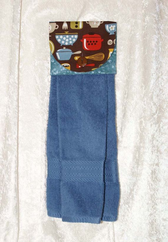 Hanging Kitchen Towel • Bath Hand Towel • Kitchen Tea Towel • Blue Kitchen Towel • Vintage Dishes • Coffee • Dutch Oven • Baking • Brown