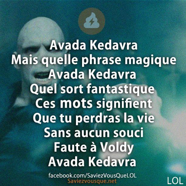 Avada Kedavra Mais quelle phrase magique Avada Kedavra Quel sort fantastique Ces mots signifient que tu perdras ta vie sans aucun souci Faute à Vody Avada Kedavra | Saviez-vous que ?