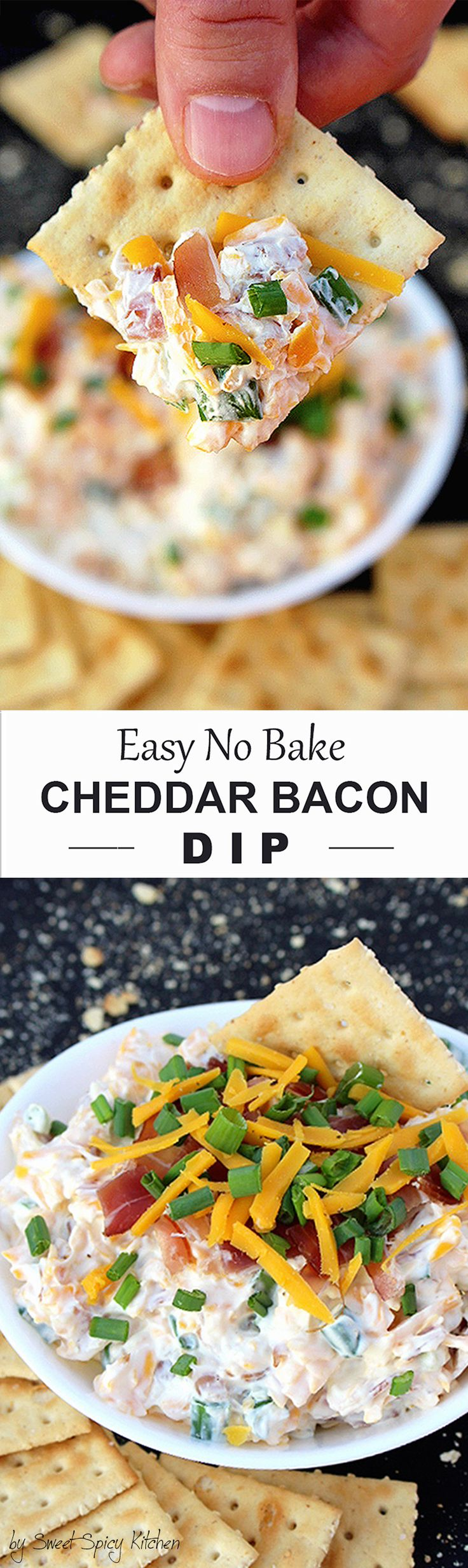 Are you a football fan? Our favorite appetizer recipe for the Game Day is a dip that takes only 5 minutes to prepare - No Bake Cheddar Bacon Dip :-)