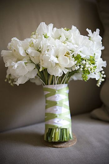 This has lily-of-the-valleys like Mom's bouquet... and sweet peas.