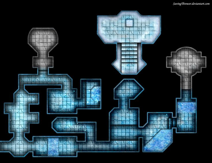 An ice themed dungeon battlemap for online DnD play on Roll20.
