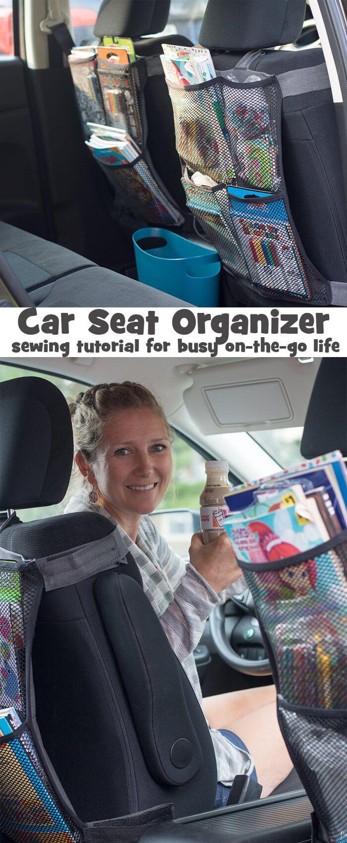 Seat Back Organizer DIY sewing tutorial #DDIcedCoffeeToGo AD