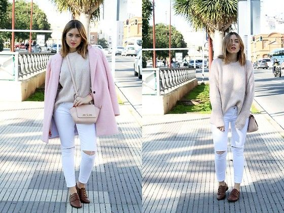 Get this look: http://lb.nu/look/8032434  More looks by Amy Ramírez: http://lb.nu/toks  Items in this look:  Pull & Bear Coat, Zara Sweater, Marypaz Bag, Zara Jeans   #casual #minimal #street #zara #pull #pastels