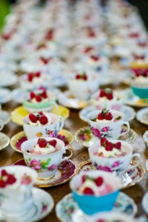 Dessert is served in vintage tea cups! Such a fun idea!