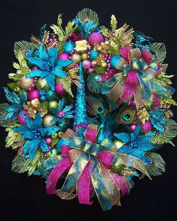 Lg. Enchanted Peacock Christmas Holiday Wreath by UpTownOriginals