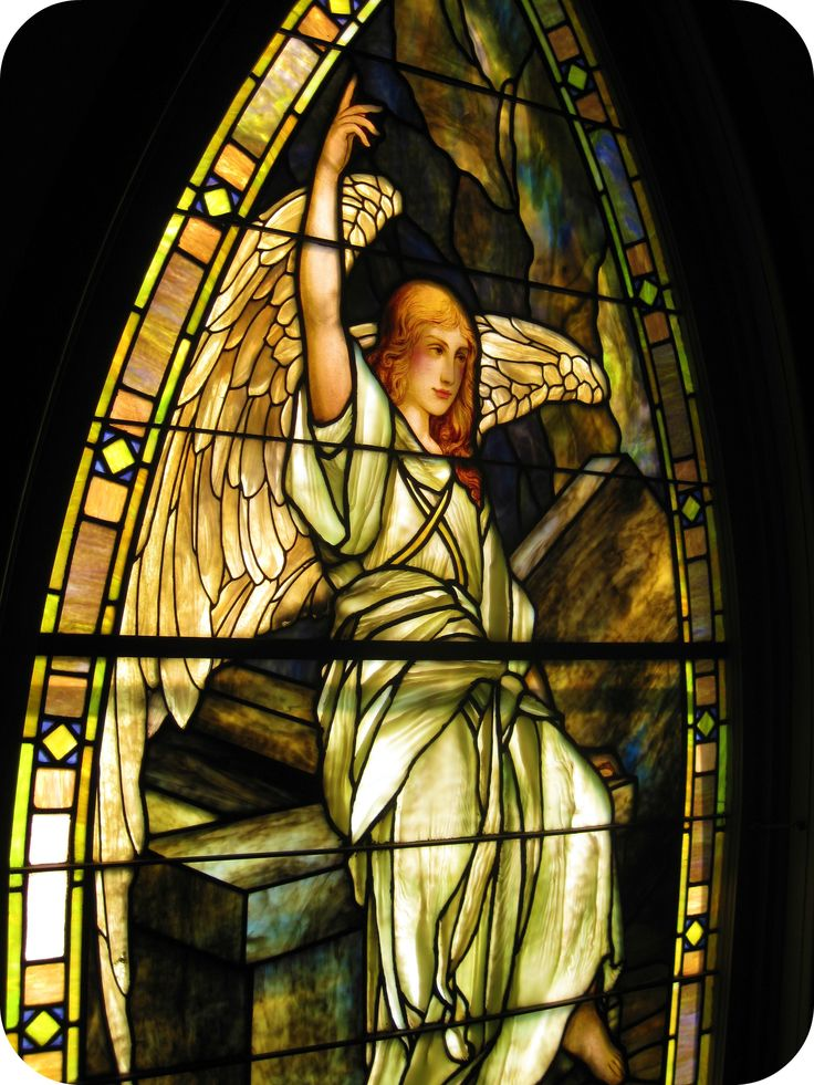 angel stained glass window by louis tiffany. franklin tennessee. - my childhood church!