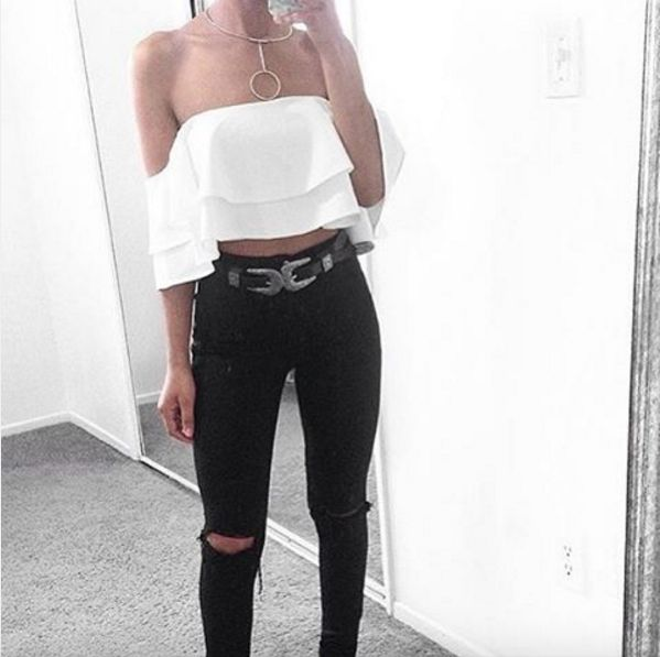 Babe @taliacupcake | Wearing our Spanish Frill Top in White