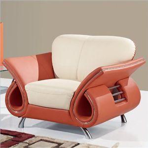 Global Furniture USA Charles Leather Club Chair in Beige and Orange
