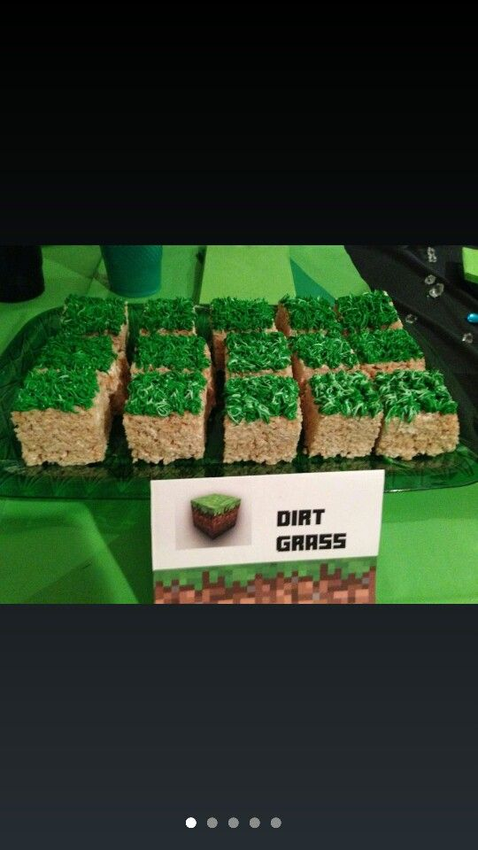 "Minecraft birthday party food/snack idea.  ""Dirt grass"" rice krispy treats. ---edited so it goes to correct link with TONS of Minecraft party stuff---"