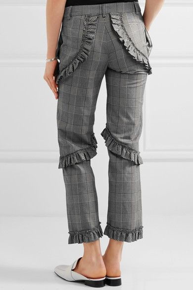 Simone Rocha - Ruffled Prince Of Wales Checked Cotton-blend Straight-leg Pants - Gray - UK12